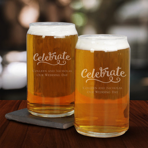 Engraved Wedding Beer Can Glass