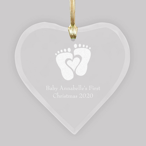 Personalized Heart Shaped Jade Glass Ornament