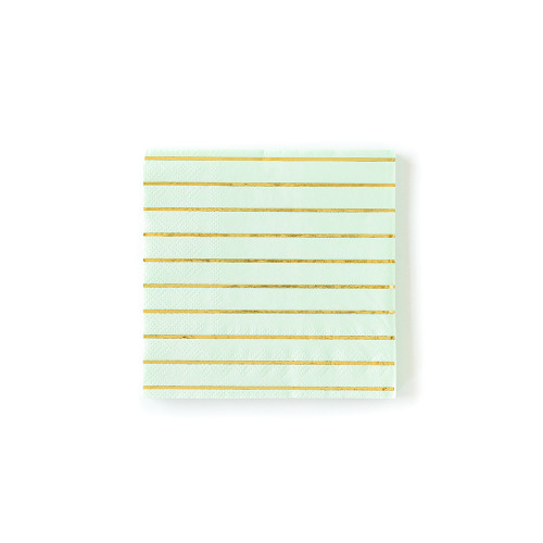 Pastel Stripe Cocktail Napkin mint