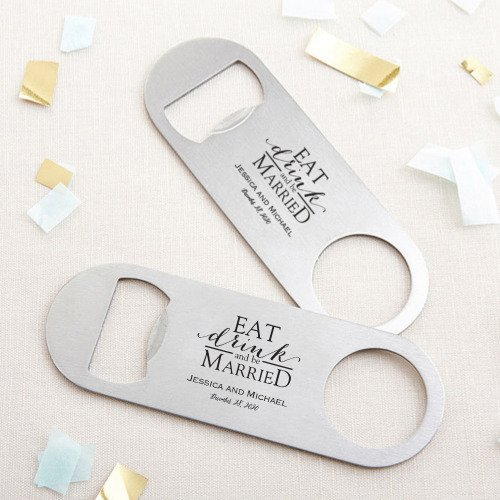 Printed Eat drink Be Married Silver Oblong Bottle Opener