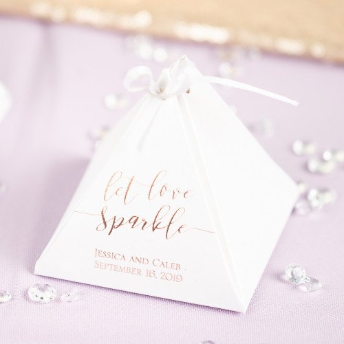Personalized Let Love Sparkle Pyramid Favor Boxes