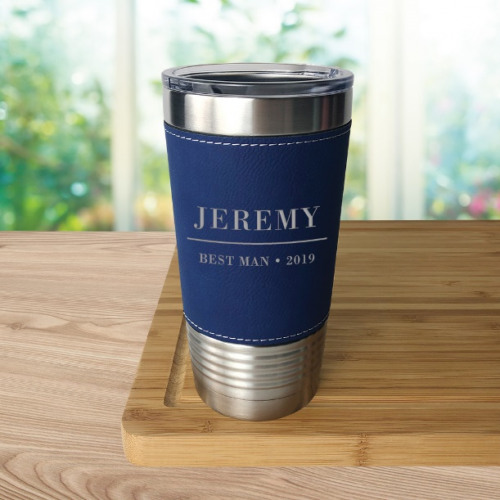 Engraved Leatherette Tumbler Blue