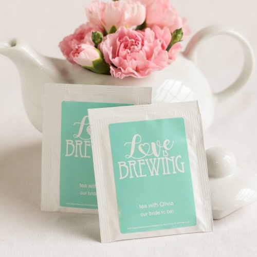 Personalized Love is Brewing Wedding Tea Bag Favors