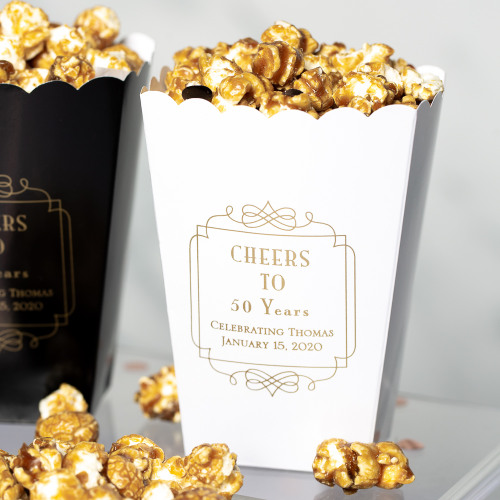 Personalized Vintage Cheers Popcorn Box
