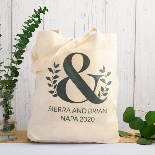 Custom Eco Ampersand Natural Wedding Cotton Tote