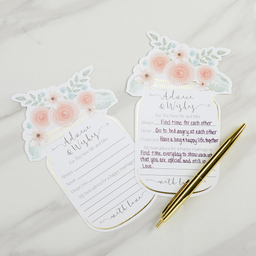Floral Mason Jar Wedding Advice Cards