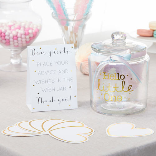 Iridescent Baby Shower Wish Jar With Heart Sharped Cards