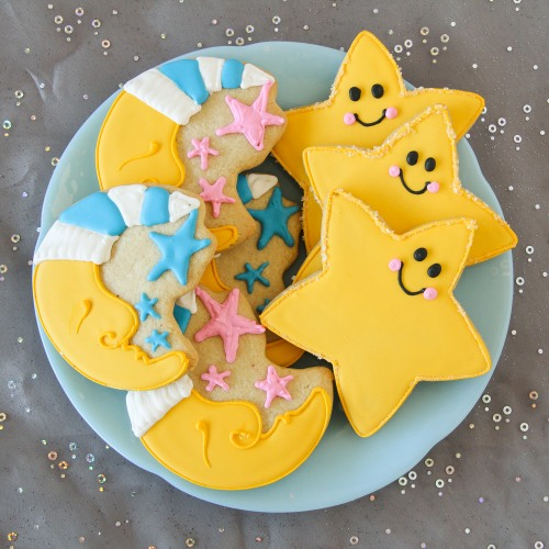 Baby Shower Star and Moon Cookies
