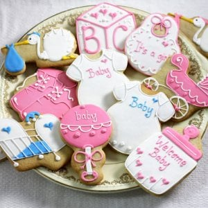 Custom Designer Baby Shower Cookies