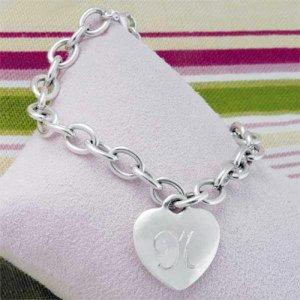 Monogram Heart Charm Bracelet