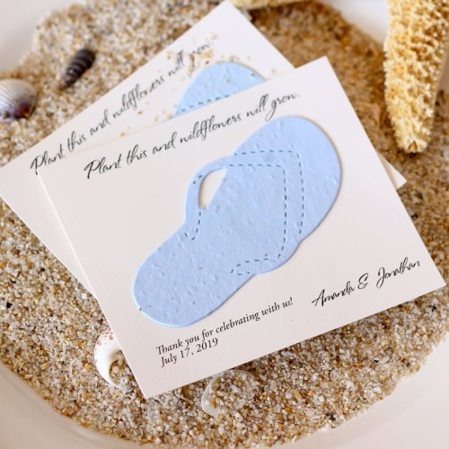 Personalized Flip Flop Seed Card Favors