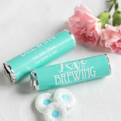 Personalized Love is Brewing Wedding Mint Rolls