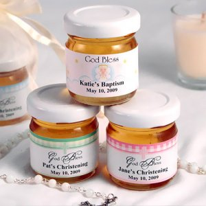Personalized Christening and Baptism Honey Jar Favors