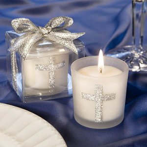 Glitter Cross Votive Candles