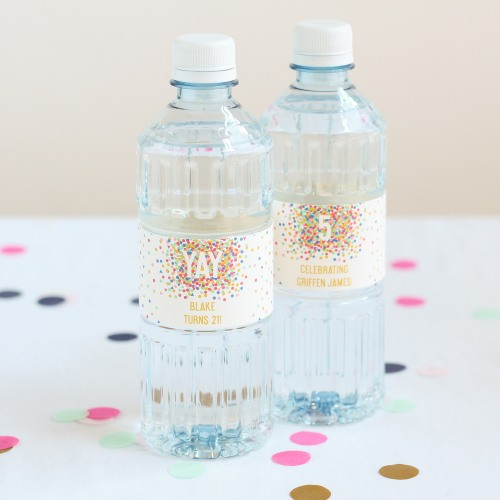 Personalized Confetti Birthday Water Bottles