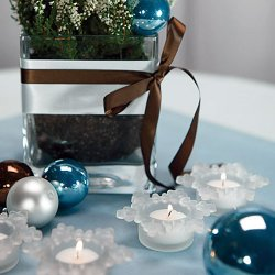 Frosted Glass Snowflake Tea Light Holders