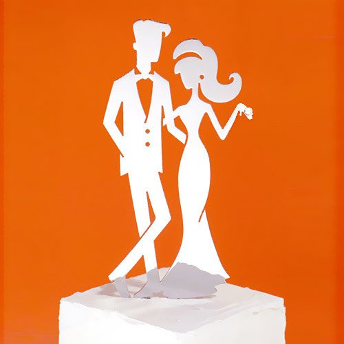 Hip Bride and Groom Metal Wedding Cake Toppers