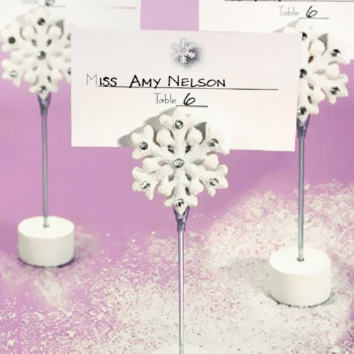 White Snowflake Place Card Holders Winter Wedding