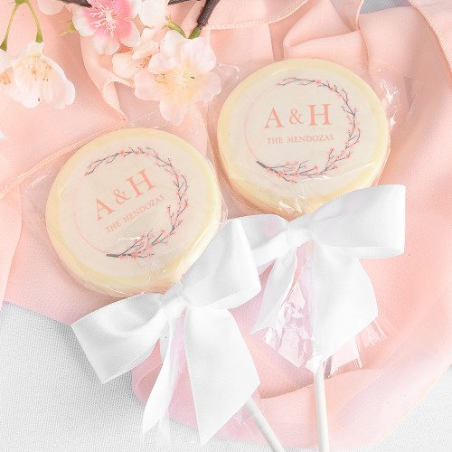 Personalized Cherry Blossom Chocolate Lollipops