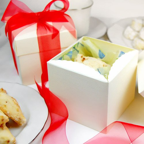 Ivory Square Embossed Italian Gift Boxes