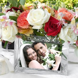 Engraved Glass Photo Vase