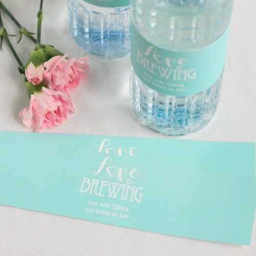 Personalized Love is Brewing Drink Labels
