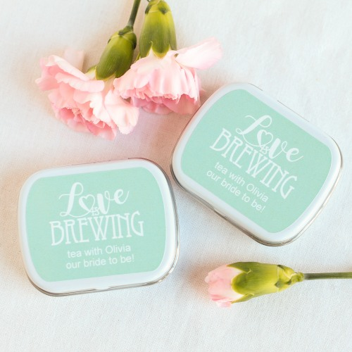 Personalized Love is Brewing Mint Tins