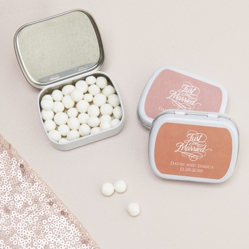 Exclusive Just Married Wedding Collection Personalized Mint Tins