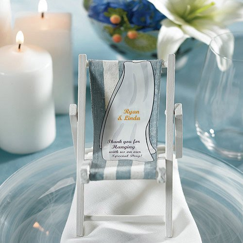 Folding Beach Chair Place Card Holder with Personalized Label