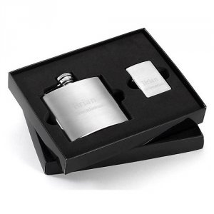 Flask and Zippo Lighter Gift Set