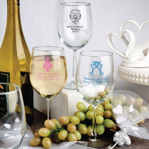 Personalized 12 oz. Wedding Wine Glasses