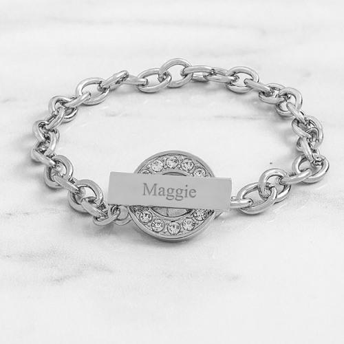 Engraved Rhinestone Toggle Bracelet