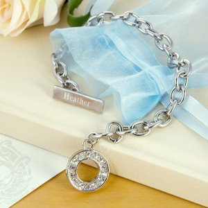 Engraved Rhinestone Toggle Bracelet