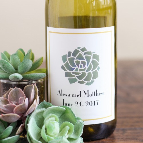 Personalized Succulent Wine Label