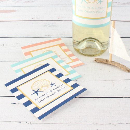 Personalized Seashell Wine Labels