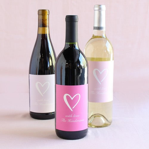 Personalized Heart Wine Labels