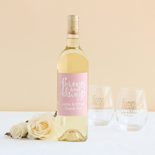 Personalized Forever Always Wine Label