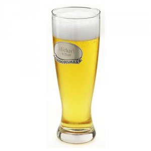 Engraved Grand Pilsner Glass with Pewter Medallion