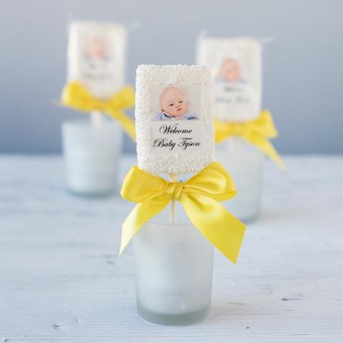 Personalized Baby Shower Photo Rice Krispy Treats