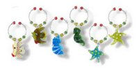 Sea Creatures Beach Themed Wine Charms