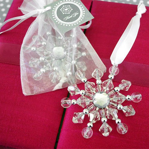 Beaded Snowflake Ornaments with Personalized Tags