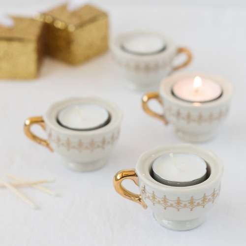 Mini Gold Teacup Tealight Holders