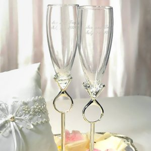 Diamond Wedding Flutes and Cake Server Set