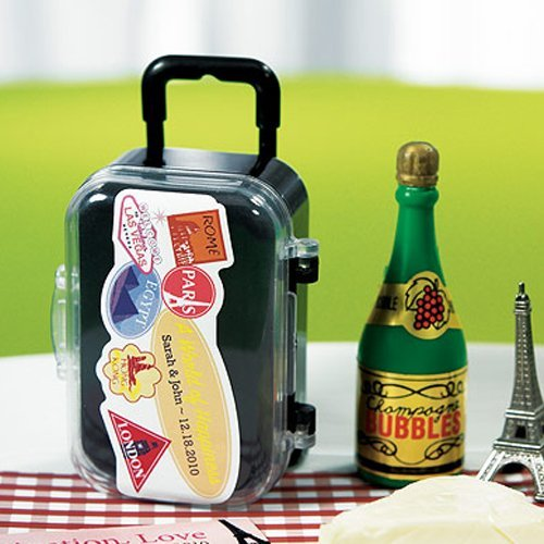 Mini Rolling Suitcase Favor with Personalized Label