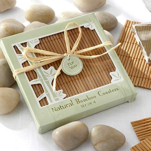 Eco Friendly Natural Bamboo Coaster Favors