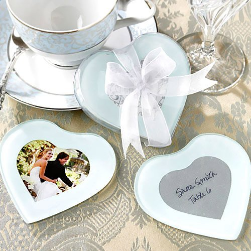 Heart Shaped Glass Photo Coasters