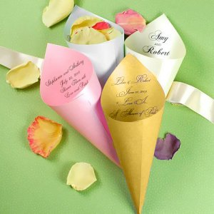 Personalized Metallic Paper Petal Cones