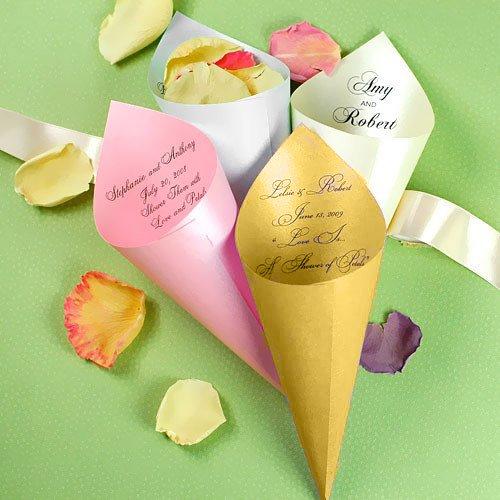 Personalized Metallic Paper Petal Cones