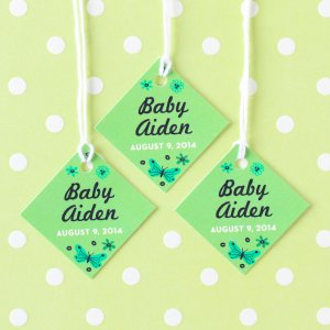 Personalized Diamond Baby Shower Favor Tags
