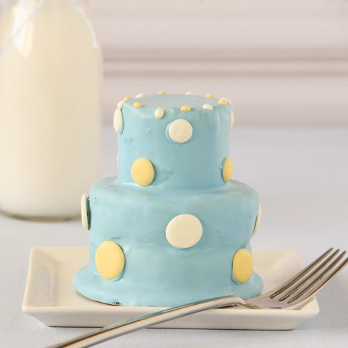 Personalized Blue 2-Tier Mini Cakes